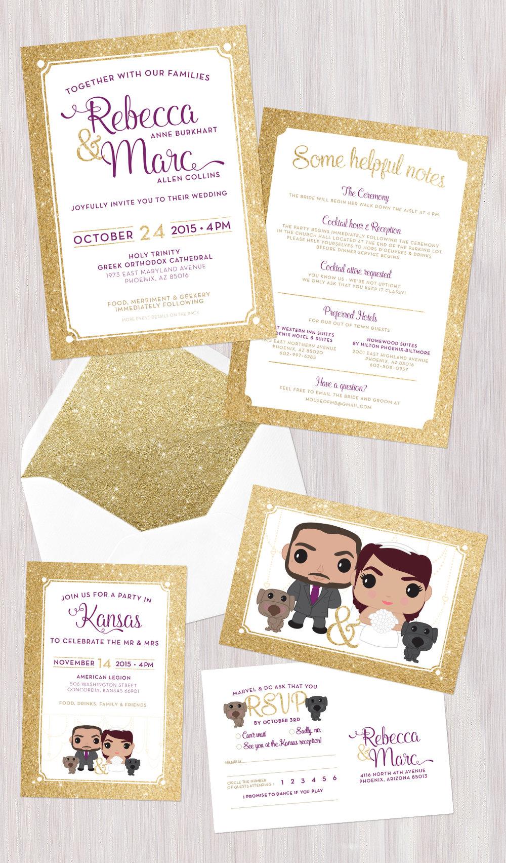 Wedding invitation set • Marc & Rebecca — Becci made this • Graphic ...