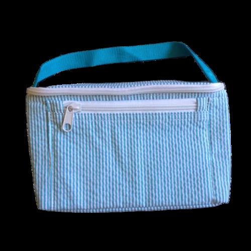 Aqua Seersucker Insulated Lunch Box