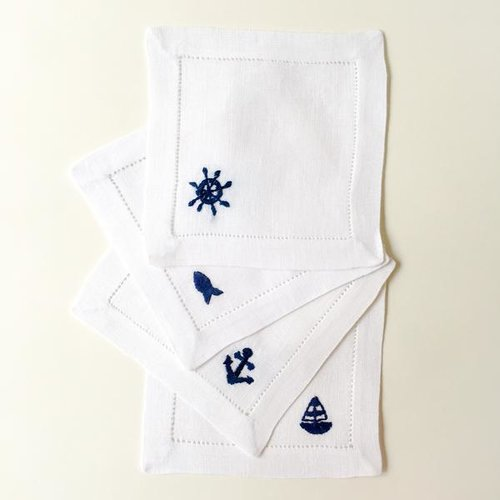 Nautical Hibiscus Linens Hand Embroidered Cocktail Napkins