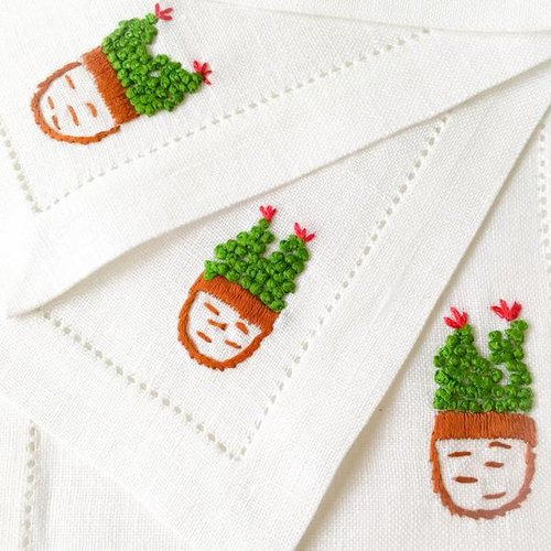 Cactus Hibiscus Linens Hand Embroidered Cocktail Napkins