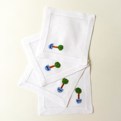 Topiary Hibiscus Linens Hand Embroidered Cocktail Napkins
