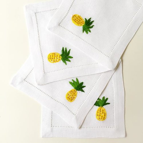 Pineapple Hibiscus Linens Hand Embroidered Cocktail Napkins