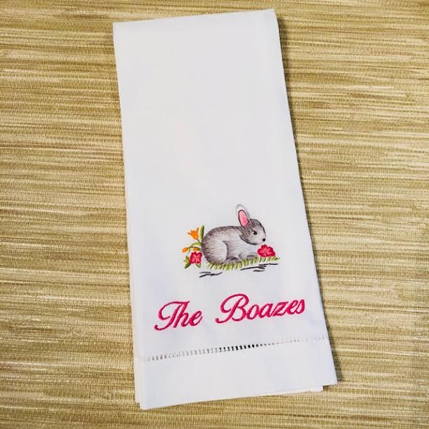Rabbit Hand Stitched Tea Towel. Easter Handtowel