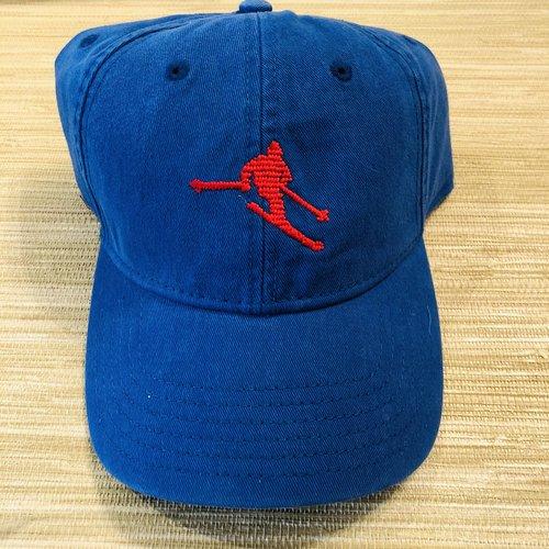fc33454db1921 Red Ski on Blue Needlepoint Baseball Cap — The Monogrammed Home