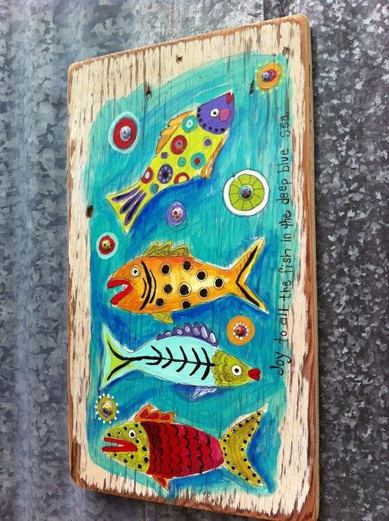 """""""Joy to the Fishes"""",wood art"""