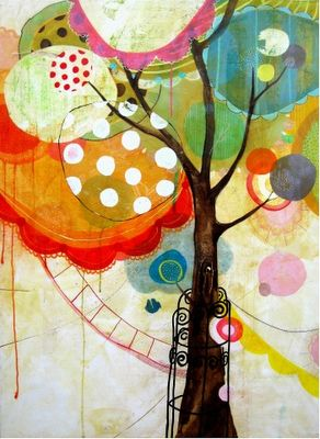 """""""Blowin' In The Wind"""", blown ink drippy trees"""