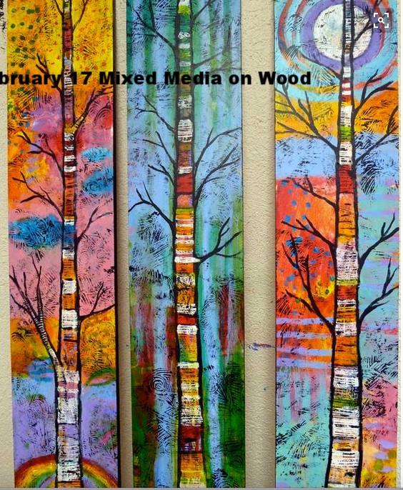 February 17 Mixed Media Tree on Wood