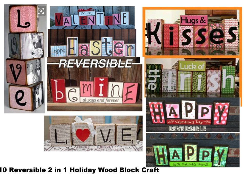 February 10 Reversible 2 in 1 Holiday Wood Block Craft