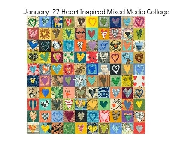 January 27 Heart Inspired Mixed Media Collage
