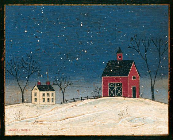 January 20 Folk Art Winter Barns Acrylic on Wood