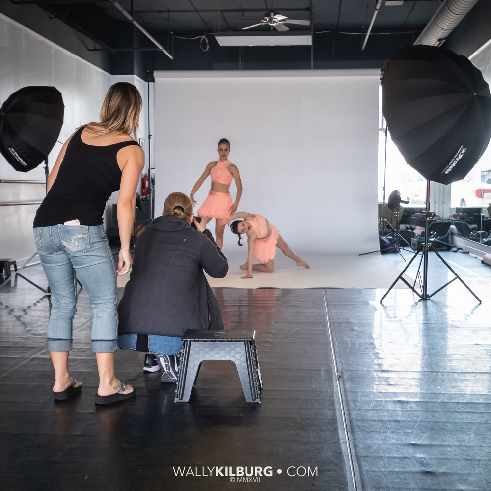 On location, assisting with a simple dance studio shoot.