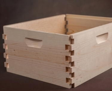 "Deep brood boxes, 8/10 frame, unassembled (9 5/8"" x 19 7/8"" x 16 1/4"") -     Quality construction out of kiln dried Northwest Ponderosa Pine.    Innovative design with special 1-5/8"" top box joint for added strength."