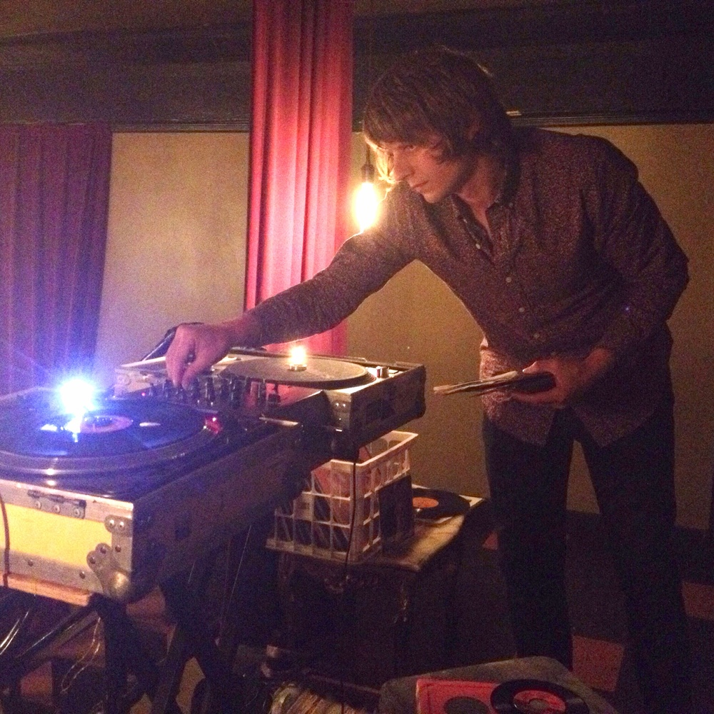 Hunter Lea spinning choice picks at Hazlewood in Ballard last night. Hunter is a known authority on Hazlewood facts. Deep passsion. Sweet soul.