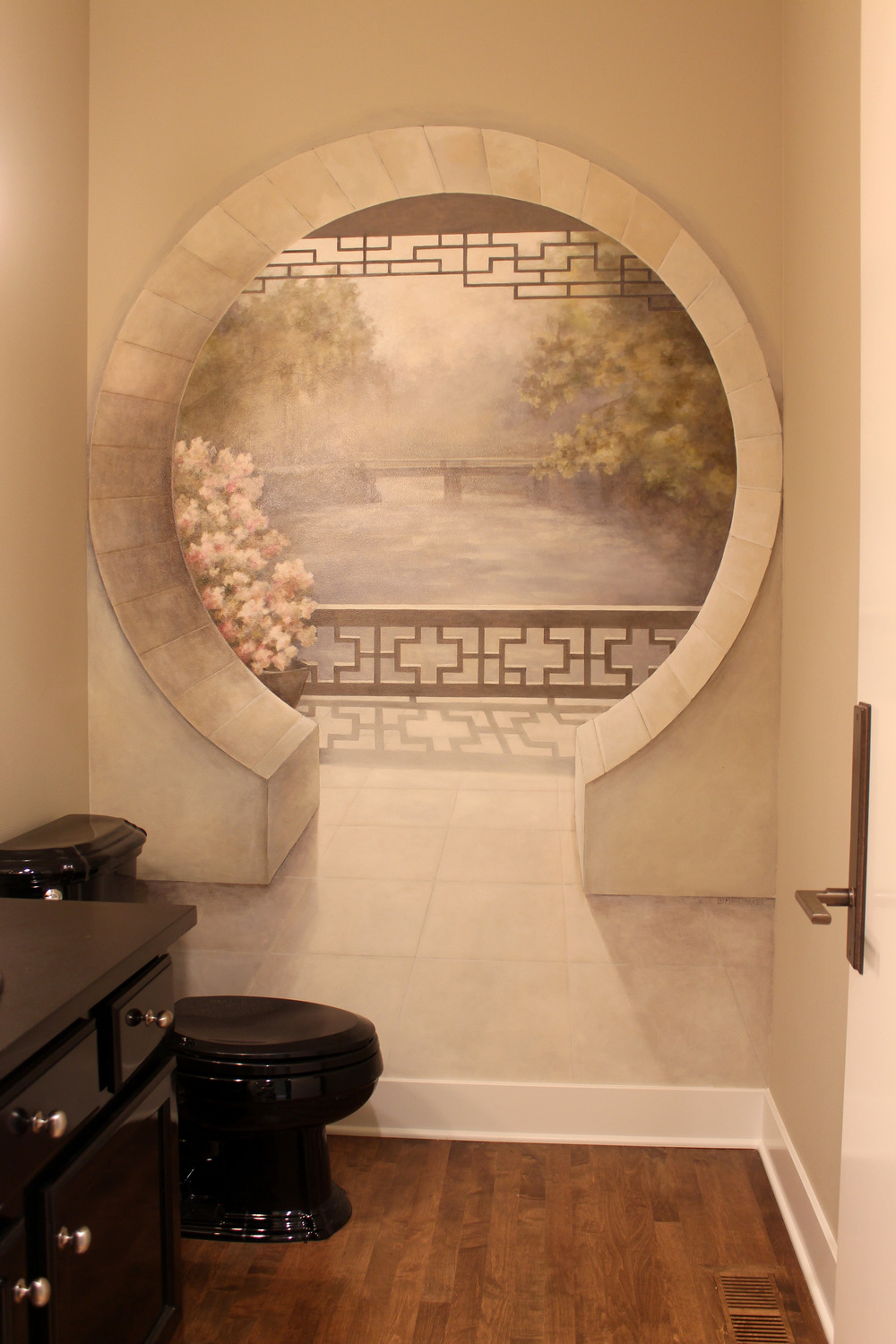 This project took me 4 days to complete and, as you can see from the photo, is located in a guest powder room.