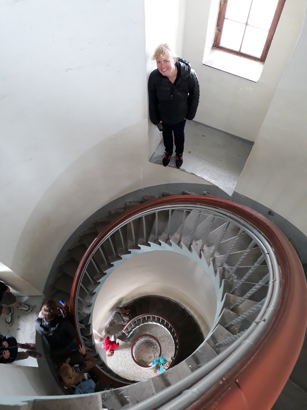 Mette took a photo of me on the way down through the lighthouse interior.