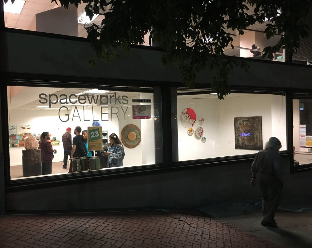 The Spaceworks Gallery with my Strata Discs hung second to right in right window.
