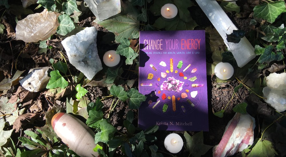"Krista's book: ""Change Your Energy: Healing Crystals for Health, Wealth, Love & Luck"" available online, at Barnes & Noble, and select Urban Outfitters and spiritual bookshops near you!"