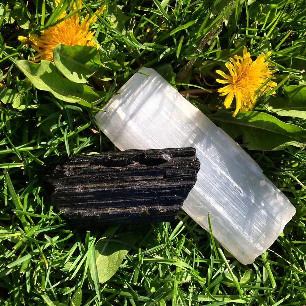 Selenite and black tourmaline can help reduce pain