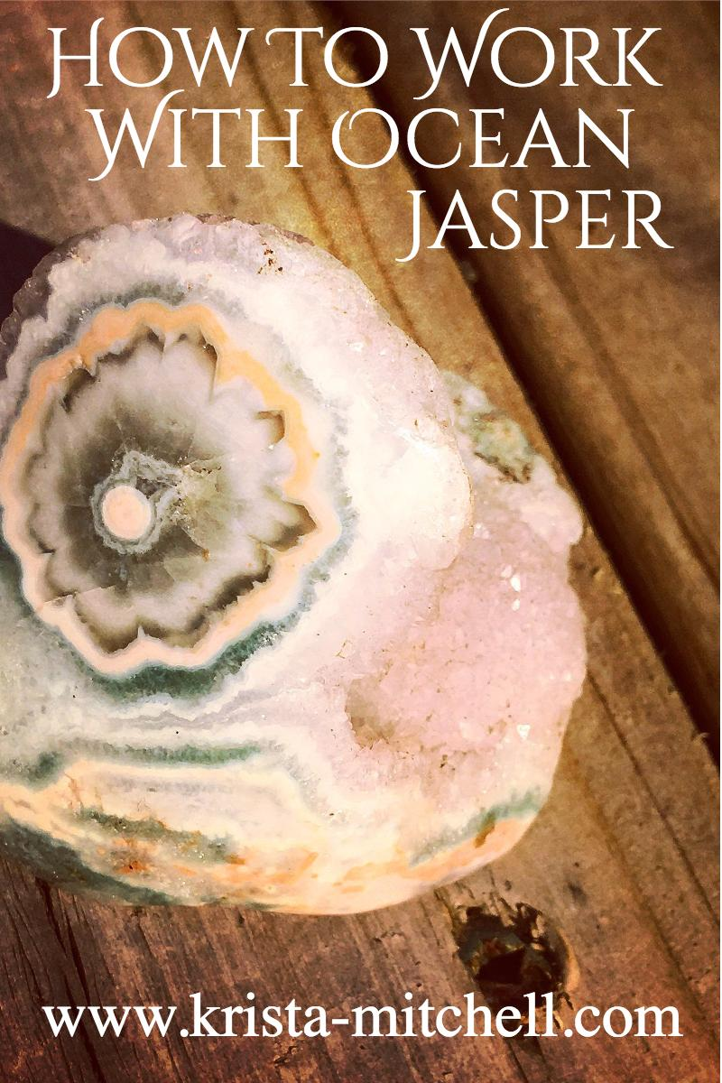 Ocean Jasper is an epic stress-relief crystal that supports adrenal health, work/life boundaries, and helps with emotional grounding/centering. Here's how to work with it.