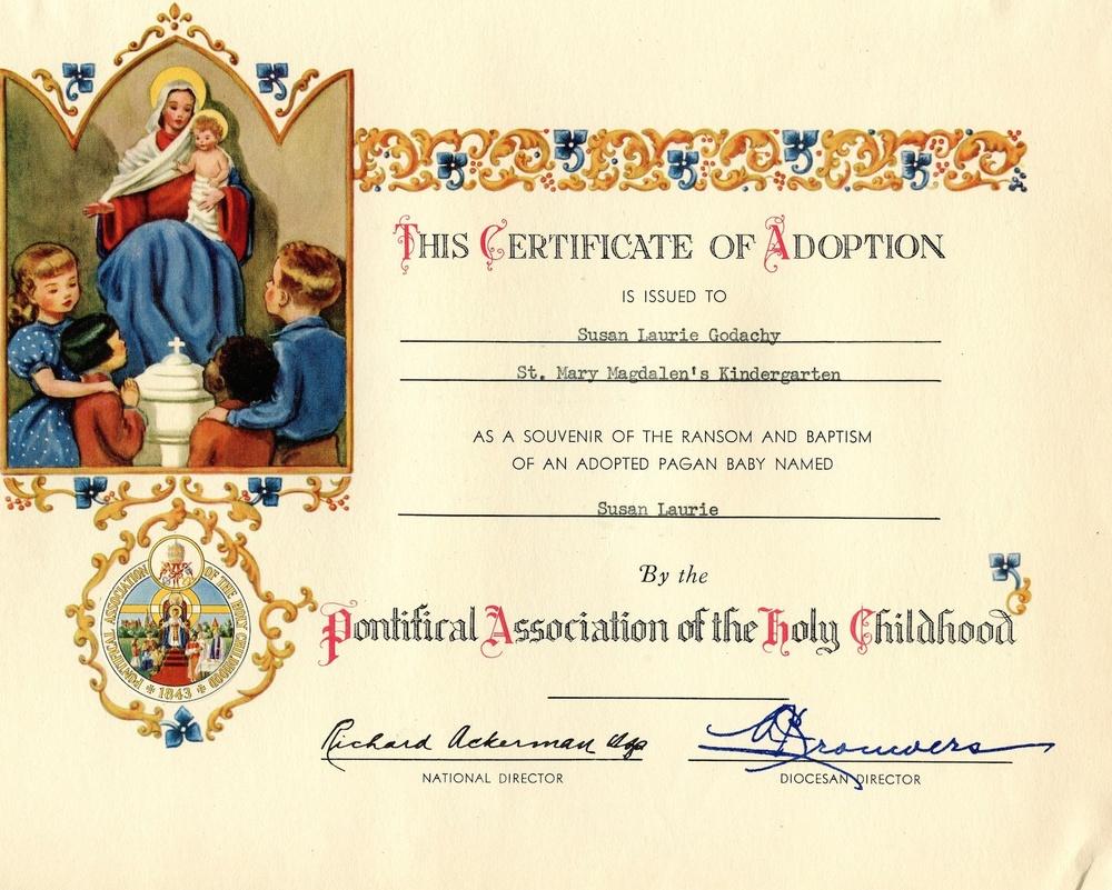 Certificate Of Adoption Class Of 1964 50 Year Reunion June 21 2014