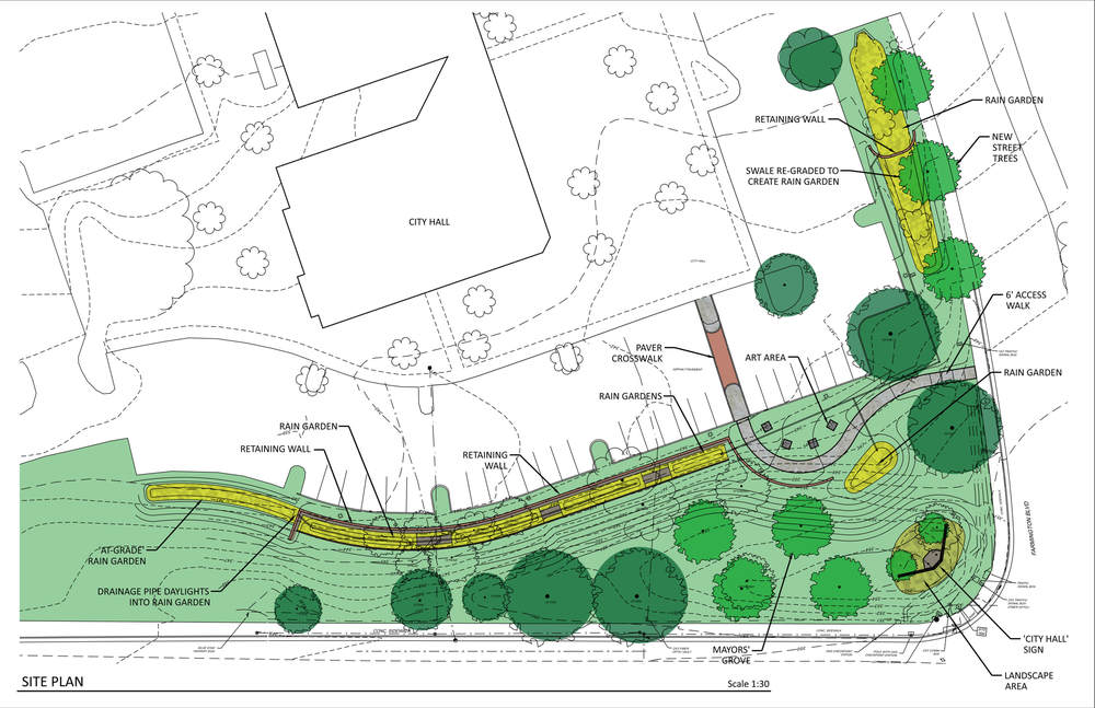 Rendered site plan of the future rain garden project to be constructed at Germantown City Hall.
