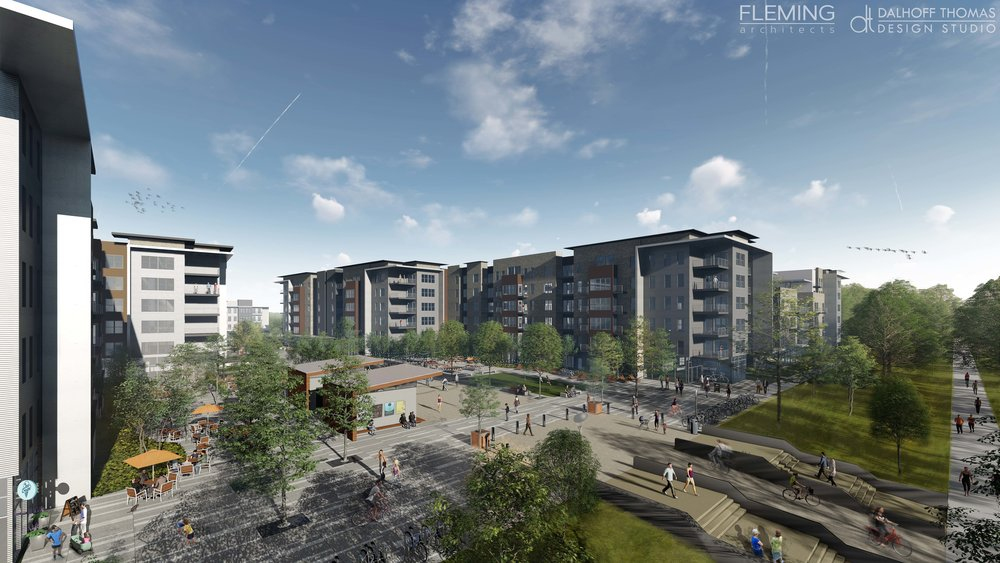 Plaza directly off of Greenline serving residential and public needs