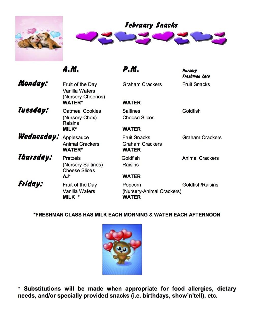 Snack Menu - February 2016
