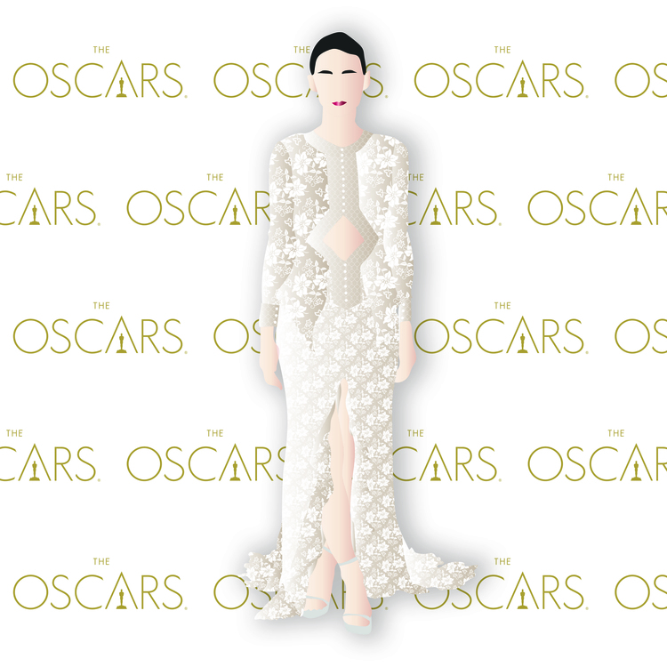 Rooney Mara at the 2016 Oscars in Givenchy. Digital Illustration
