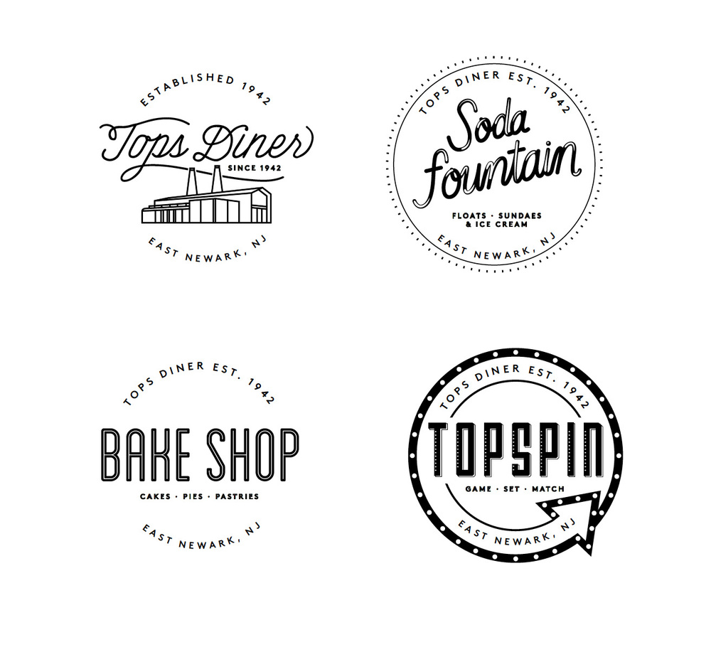 Logos for Tops Diner, Soda Fountain, Bake Shop and Topspin, in New Jersey.