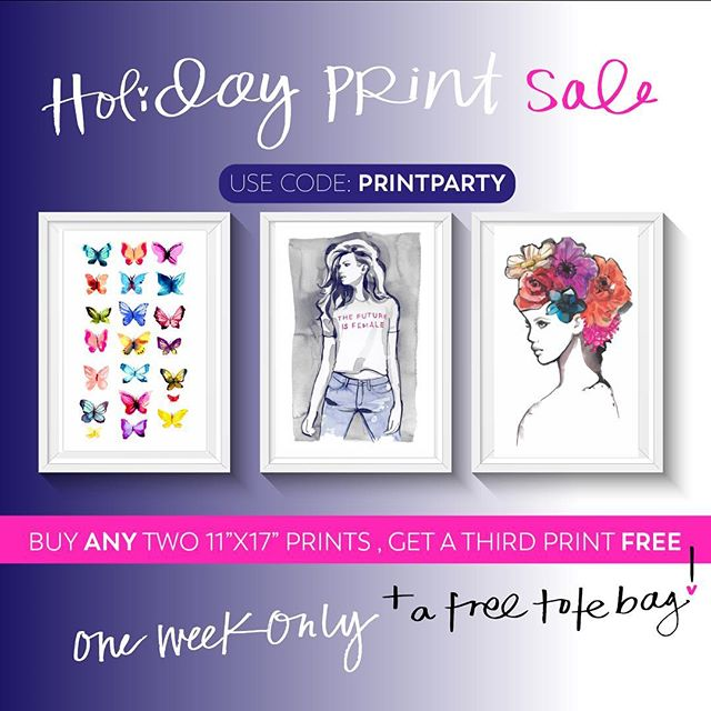 """// HOLIDAY PRINT SALE // 🎄🎁💌❤️ All 11""""x17"""" Prints- $25!  Buy 2 , get one FREE! +  A FREE tote bag ✨  USE CODE: PRINTPARTY at checkout. One week only. While quantities last. Art of marina.shop. Link in bio ⭐️😘"""