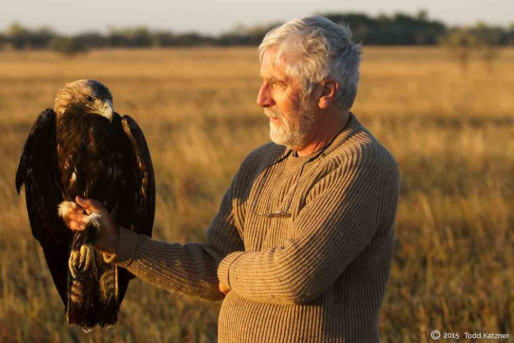 Dr. Peter Bloom with the eagle