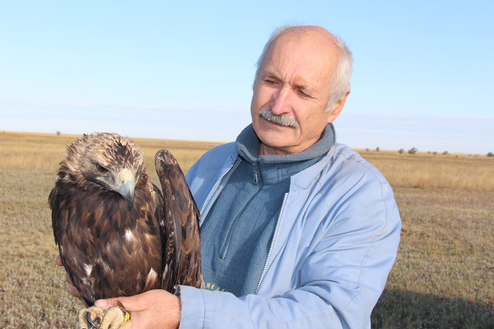 Dr. Bragin with eagle
