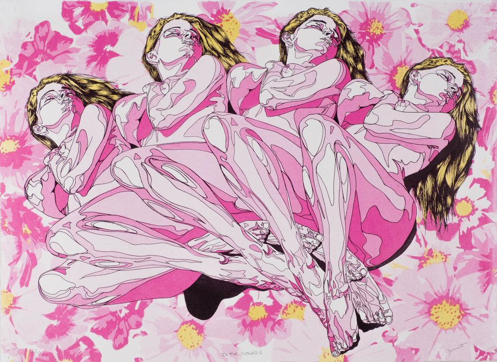 Zanereti_In The Flowers_Lithography_28inX20in_2017.jpg