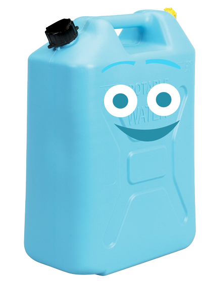 jerry can: noun. a large, flat-sided metal container for storing or transporting liquids, typically water. In Africa, children often walk several miles to and from a water source, carrying the jerry can as they transport their water.