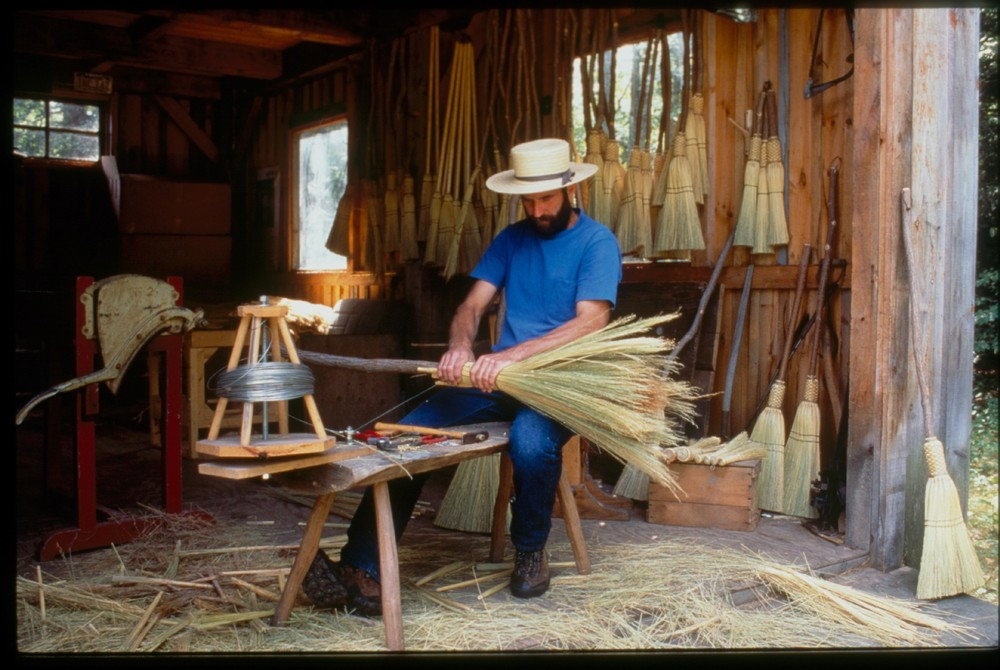 J.P. making a Traditional Broom!