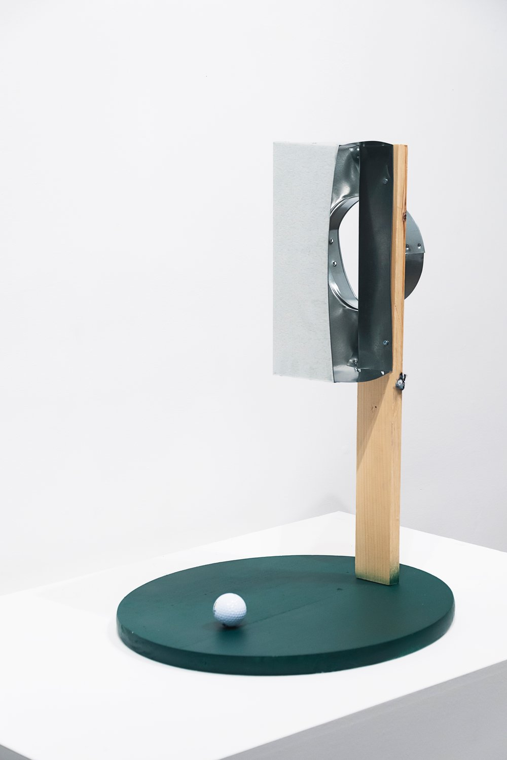 """Where We Are""  Golf Ball, Wood, Airduct, Rope, Screws  Dimensions Variable   2017  © Messiah Joshua LLC"