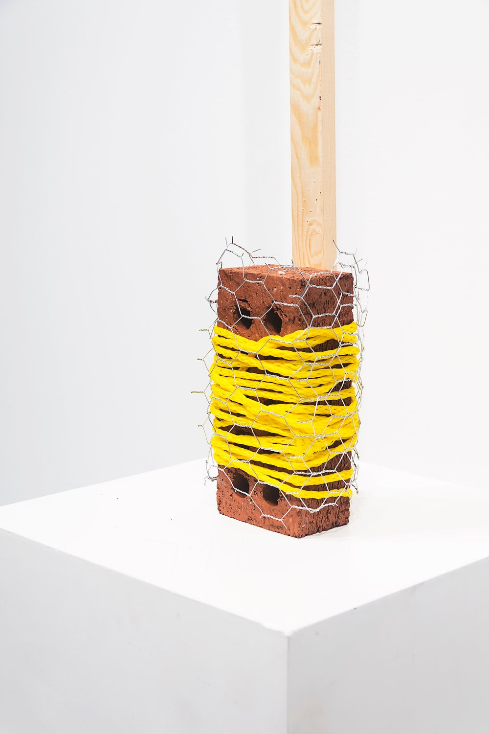 """Untitled 8""  Wood, Brick, Chicken Wire, Rope  2017  © Messiah Joshua LLC"