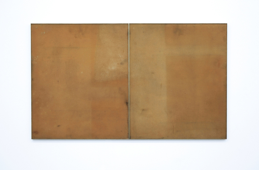 Untitled  2010 Solarized foam sheets, brass frame diptych 112 cm x 66cm