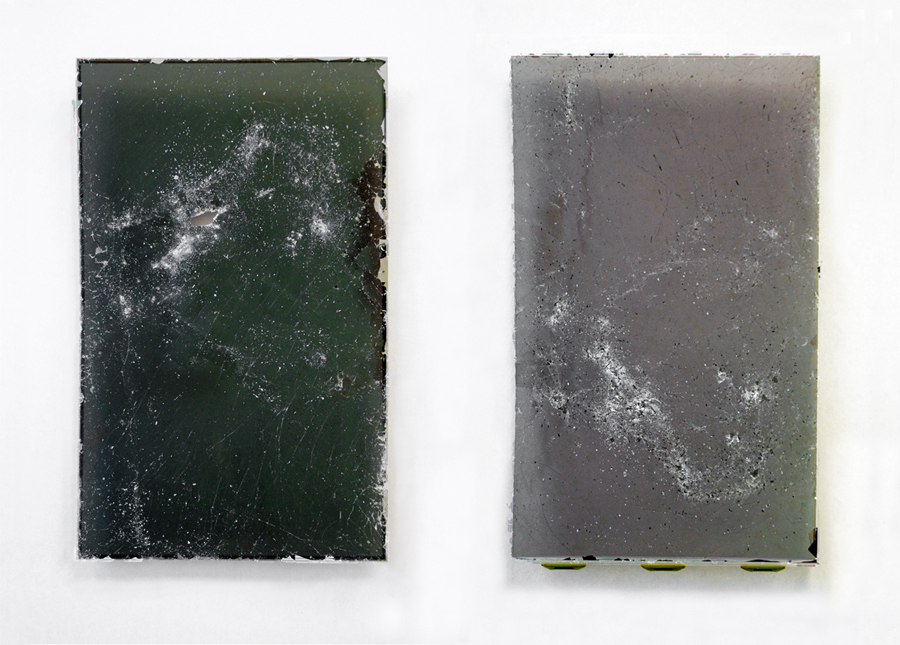 Untitled (NGC 4038/4039)  2011 Damaged components from liquid crystal display (LCD) screen 48 x 28cm each