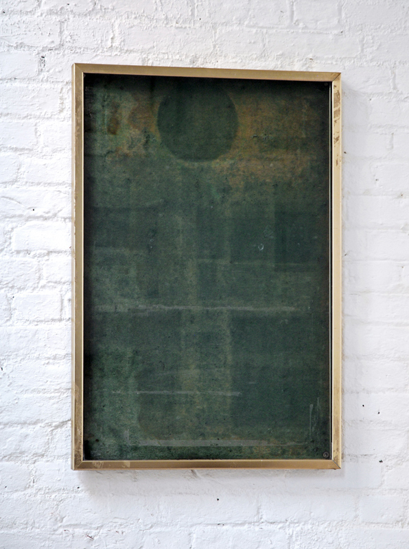 Untitled  2011 Solarized felt, glass, brass 98 x 60cm