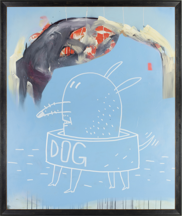 "Dog and Soul , 2013. Spray paint and acrylic on canvas. 76 1⁄4"" x 64"" framed (72"" x 60"" unframed)"