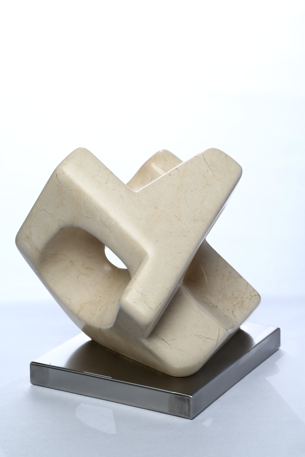 "Around the Space    Marfil Marble 13½"" x 6 "" x 6"""