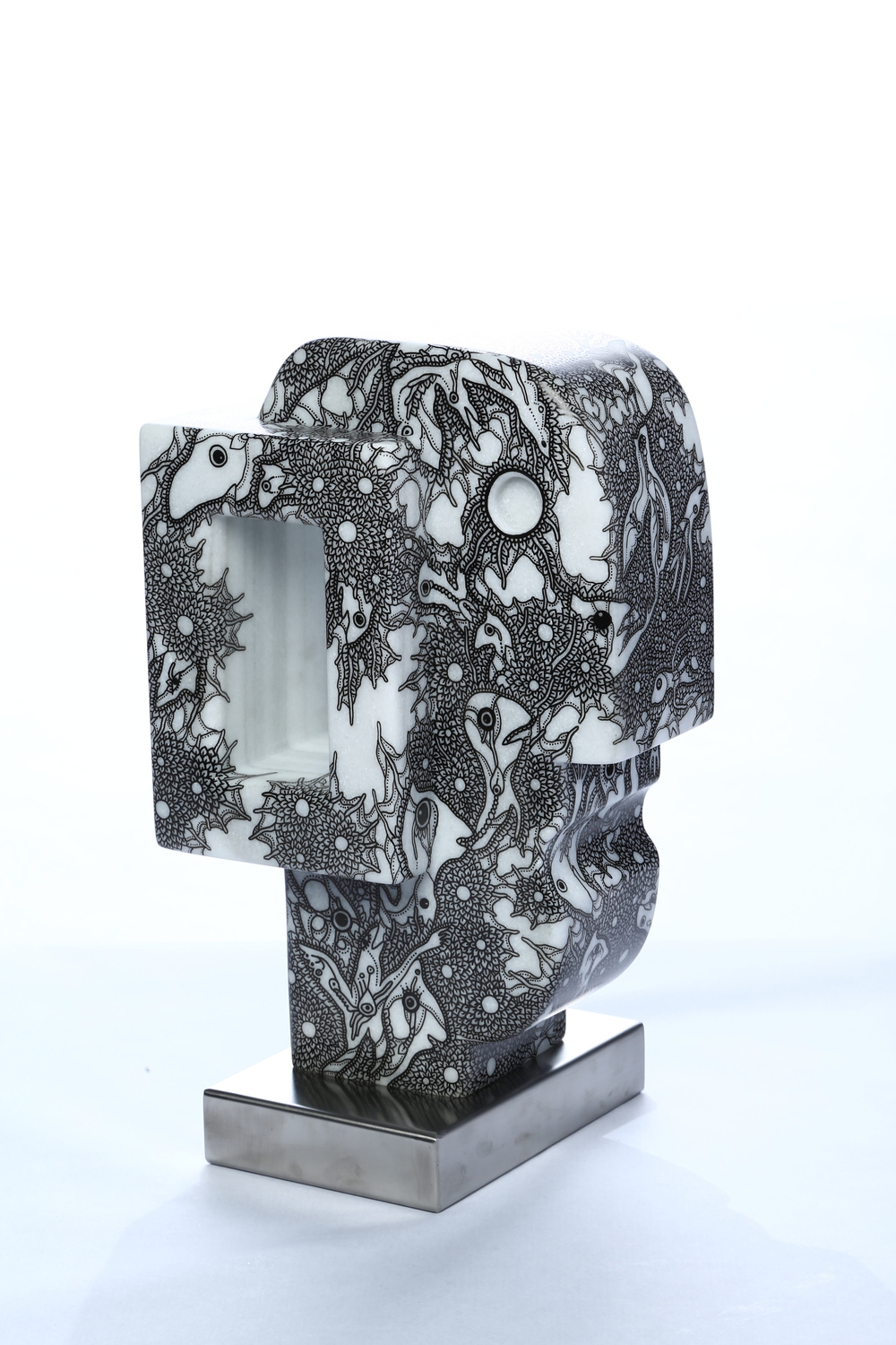 "Collaboration between Heras Castan and Miki Yokoyama     Blind Mind    Macael Marble 10½"" x 16½ "" x 7¼"""