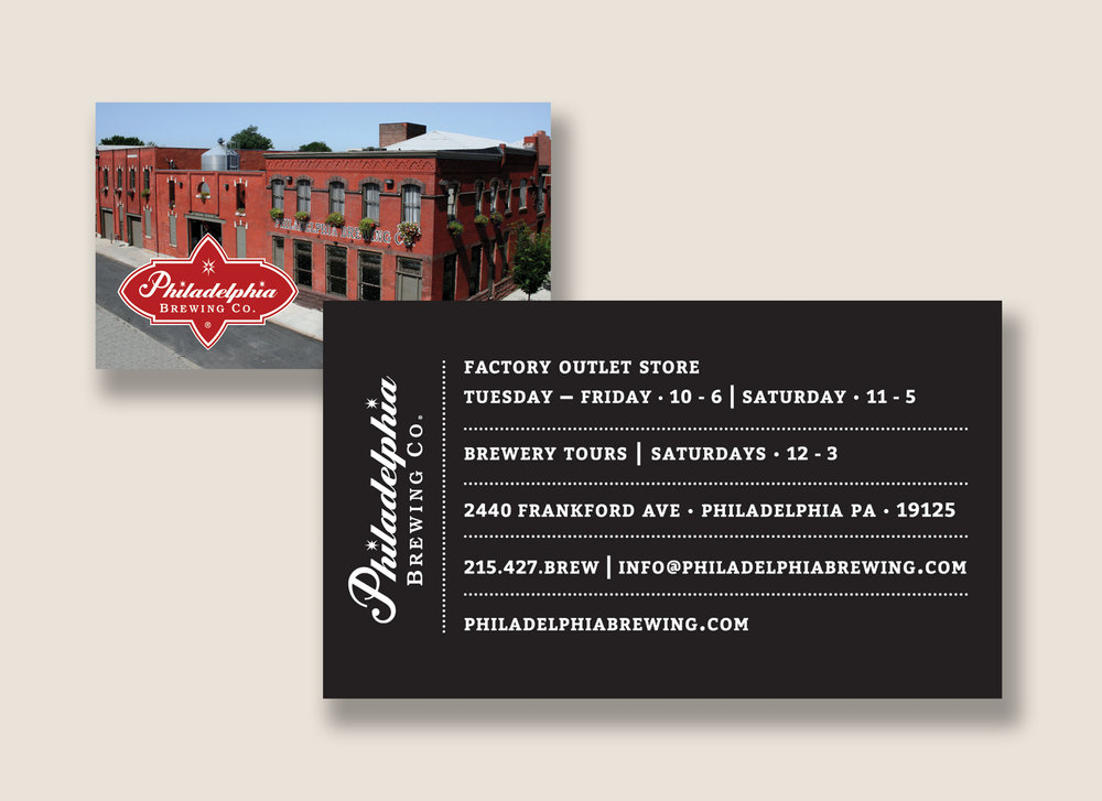 Philadelphia Brewing Co. Factory Outlet Store Business Card