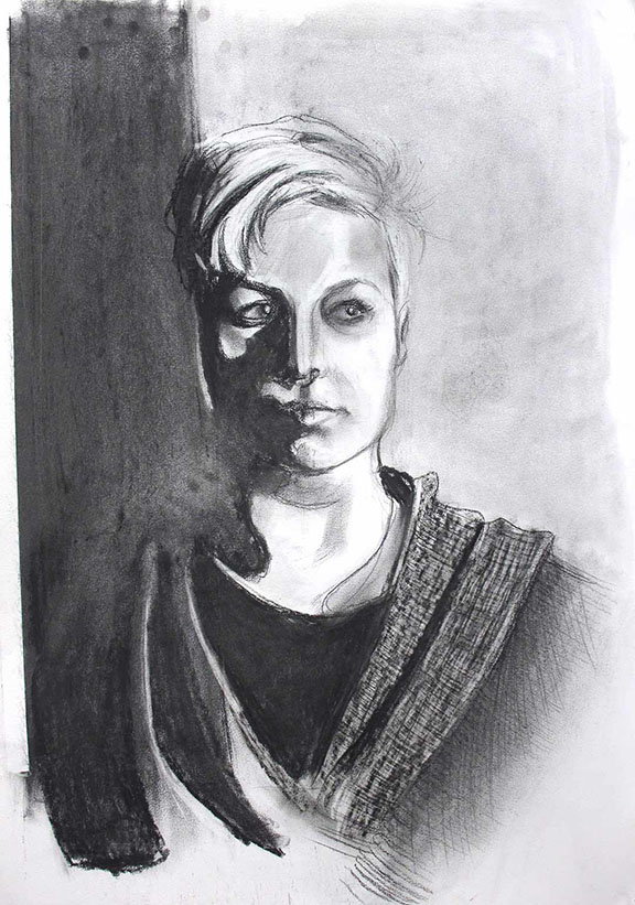 Edge Condition 1. 2014. Charcoal on Paper. 22 inches x 30 inches.