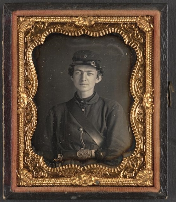 Unidentified soldier in Union uniform of the 119th Pennsylvania Volunteer Infantry, wearing the belt buckle of the Philadelphia Reserve Brigade.,c. 1861-1865, Library Of Congress