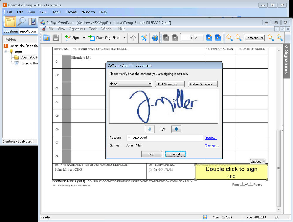 Integrating ECM with a digital signature tool helps organizations easily collect signed documents while ensuring the signing party is the person he claims to be.