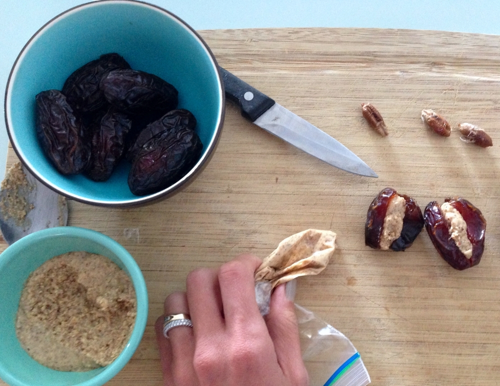 It's so easy! Just pipe the nut butter into your dates!