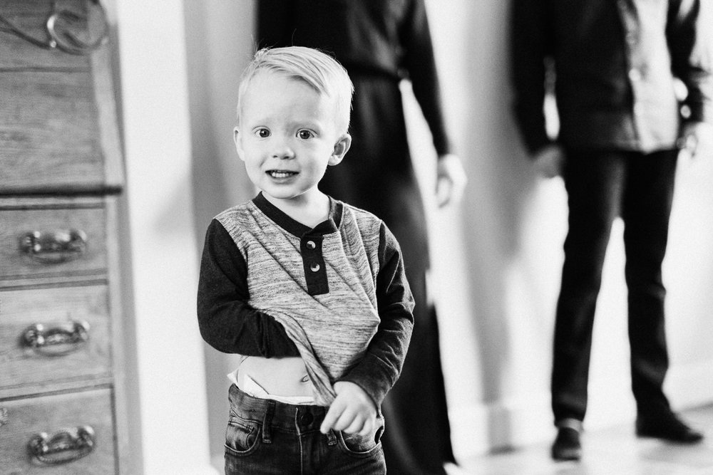 candid black and white portrait of toddler slc ut