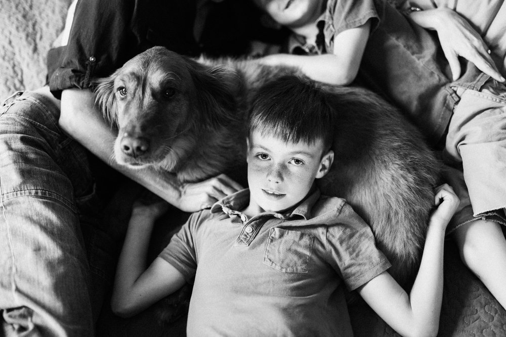 black-and-white-portrait-of-boy-and-dog-slc-utah